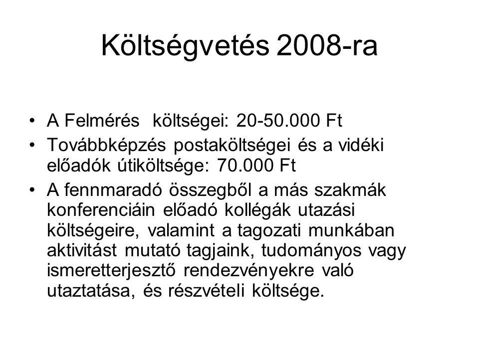 Költségvetés 2008-ra A Felmérés költségei: 20-50.000 Ft Továbbképzés postaköltségei és a vidéki előadók útiköltsége: 70.000 Ft A fennmaradó összegből