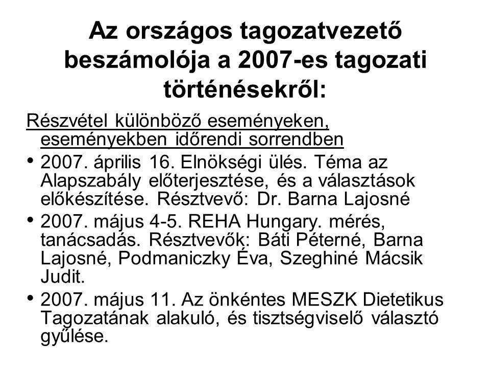 Az országos tagozatvezető beszámolója a 2007-es tagozati történésekről: Részvétel különböző eseményeken, eseményekben időrendi sorrendben 2007. áprili