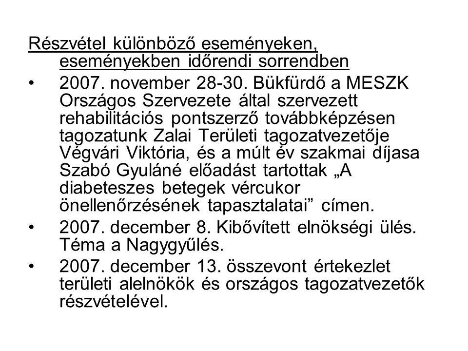 Részvétel különböző eseményeken, eseményekben időrendi sorrendben 2007. november 28-30. Bükfürdő a MESZK Országos Szervezete által szervezett rehabili