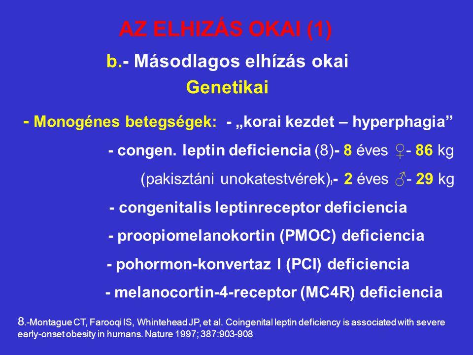 """b.- Másodlagos elhízás okai Genetikai - Monogénes betegségek: - """"korai kezdet – hyperphagia"""" - congen. leptin deficiencia (8)- 8 éves ♀- 86 kg (pakisz"""