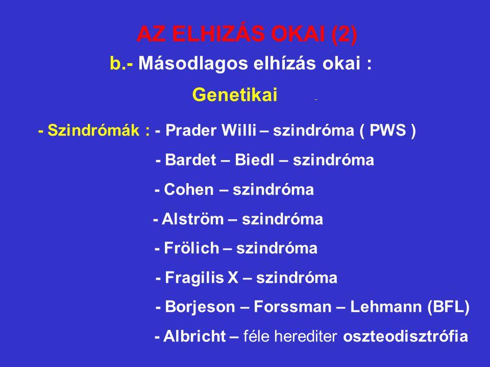 AZ ELHIZÁS OKAI (2) b.- Másodlagos elhízás okai : Genetikai - - Szindrómák : - Prader Willi – szindróma ( PWS ) - Bardet – Biedl – szindróma - Cohen –