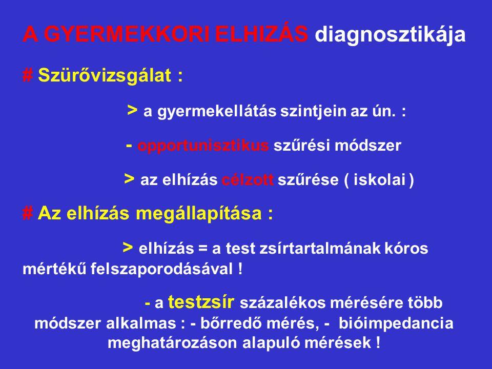A GYERMEKKORI ELHIZÁS diagnosztikája # Szürővizsgálat : > a gyermekellátás szintjein az ún. : - opportunisztikus szűrési módszer > az elhízás célzott