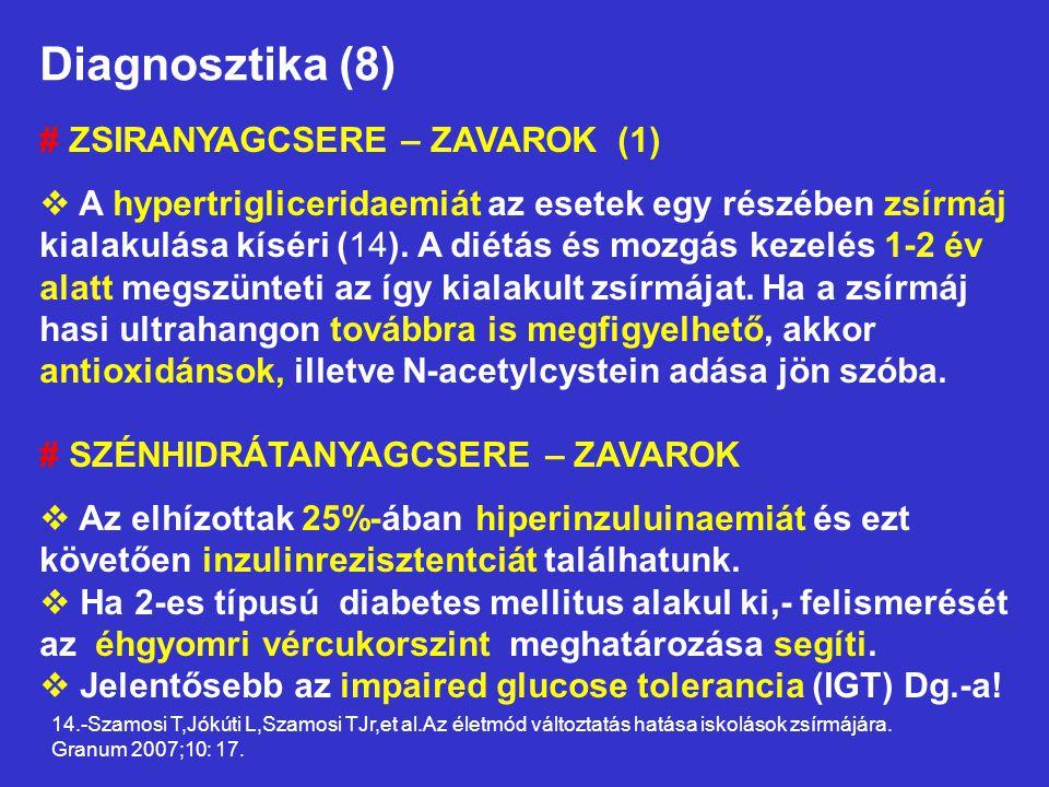 Diagnosztika (8) # ZSIRANYAGCSERE – ZAVAROK (1)  A hypertrigliceridaemiát az esetek egy részében zsírmáj kialakulása kíséri (14). A diétás és mozgás