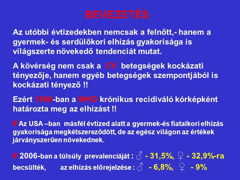 Diagnosztika (7) # ZSIRANYAGCSERE – ZAVAROK - magas serum összkoleszterinszint elhízott.