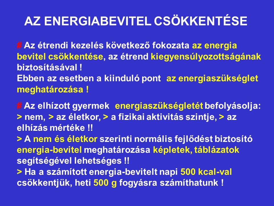 AZ ENERGIABEVITEL CSÖKKENTÉSE # Az étrendi kezelés következő fokozata az energia bevitel csökkentése, az étrend kiegyensúlyozottságának biztosításával