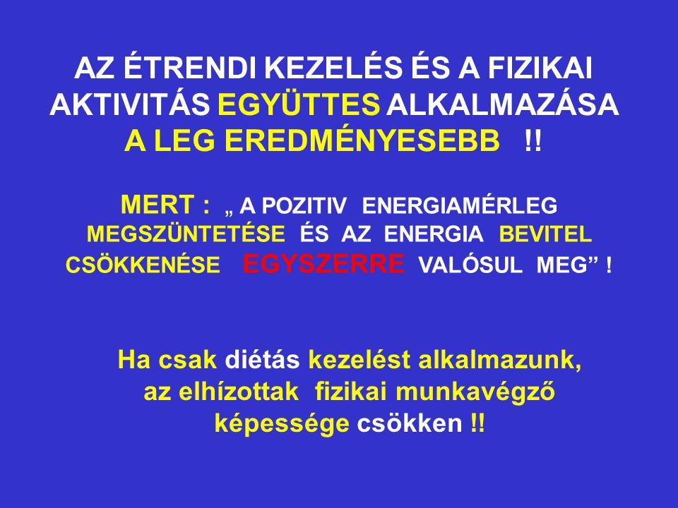 """AZ ÉTRENDI KEZELÉS ÉS A FIZIKAI AKTIVITÁS EGYÜTTES ALKALMAZÁSA A LEG EREDMÉNYESEBB !! MERT : """" A POZITIV ENERGIAMÉRLEG MEGSZÜNTETÉSE ÉS AZ ENERGIA BEV"""