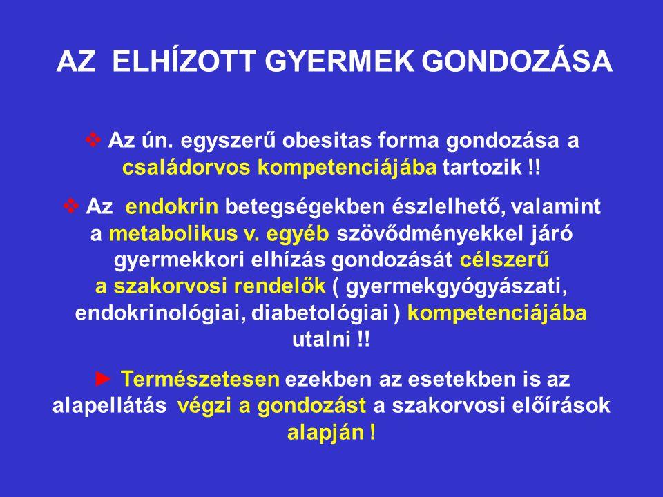 AZ ELHÍZOTT GYERMEK GONDOZÁSA  Az ún. egyszerű obesitas forma gondozása a családorvos kompetenciájába tartozik !!  Az endokrin betegségekben észlelh