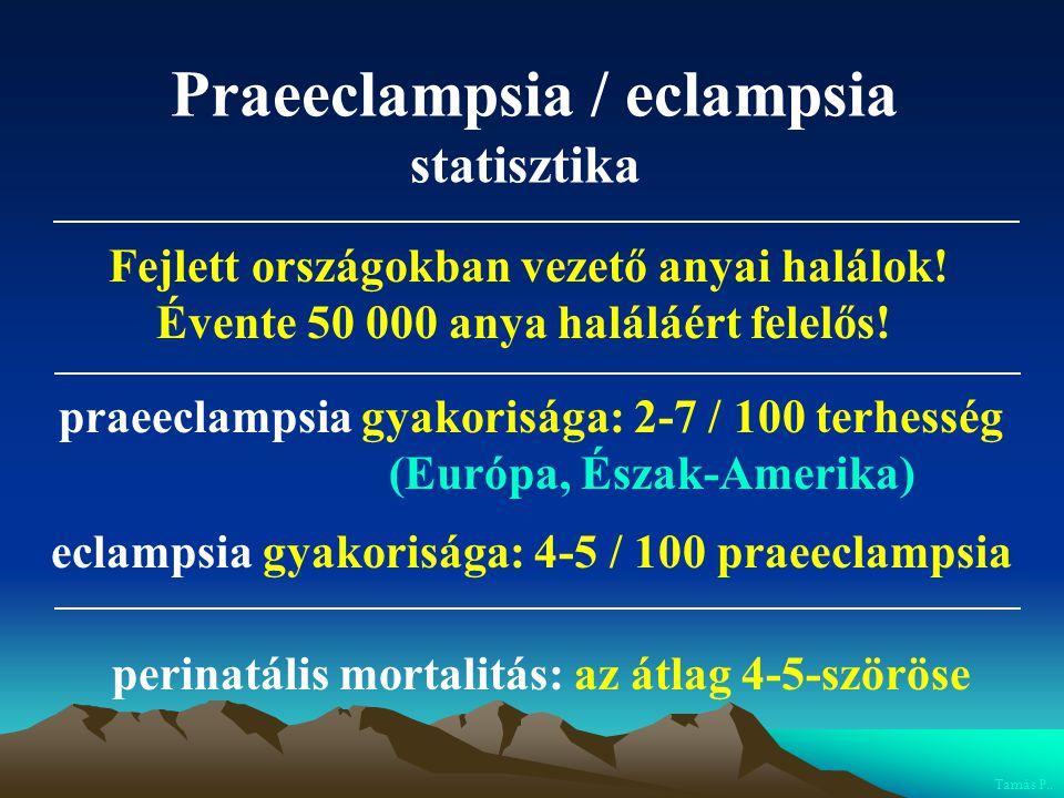 Praeeclampsia / eclampsia statisztika praeeclampsia gyakorisága: 2-7 / 100 terhesség (Európa, Észak-Amerika) eclampsia gyakorisága: 4-5 / 100 praeecla