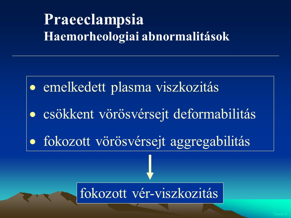Praeeclampsia Haemorheologiai abnormalitások  emelkedett plasma viszkozitás  csökkent vörösvérsejt deformabilitás  fokozott vörösvérsejt aggregabil