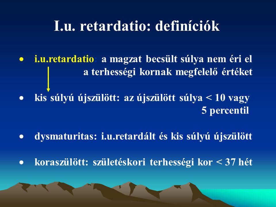 I.u. retardatio: definíciók  i.u.retardatio: a magzat becsült súlya nem éri el a terhességi kornak megfelelő értéket  kis súlyú újszülött: az újszül