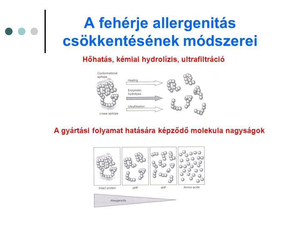 A fehérje allergenitás csökkentésének módszerei Hőhatás, kémiai hydrolízis, ultrafiltráció A gyártási folyamat hatására képződő molekula nagyságok