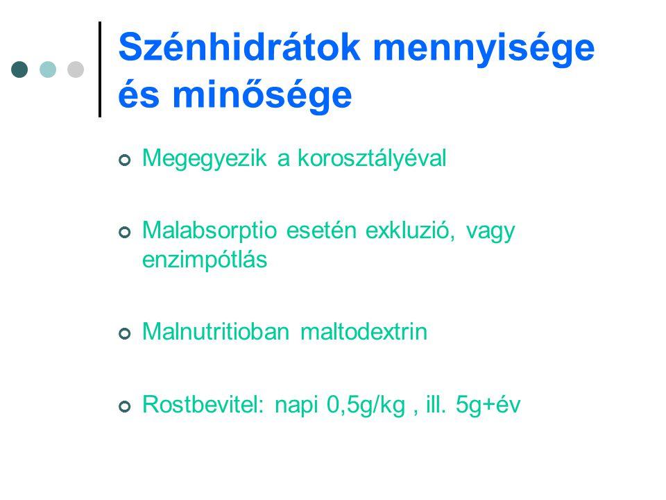 Szénhidrátok mennyisége és minősége Megegyezik a korosztályéval Malabsorptio esetén exkluzió, vagy enzimpótlás Malnutritioban maltodextrin Rostbevitel
