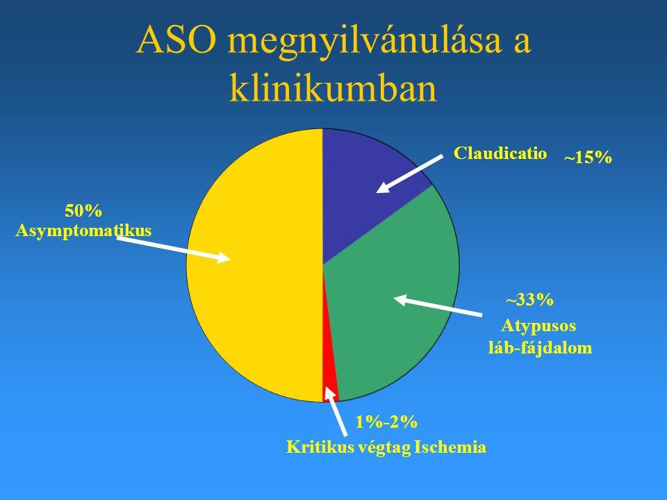ASO megnyilvánulása a klinikumban 50% Asymptomatikus Claudicatio ~15% Atypusos láb-fájdalom ~33% 1%-2% Kritikus végtag Ischemia