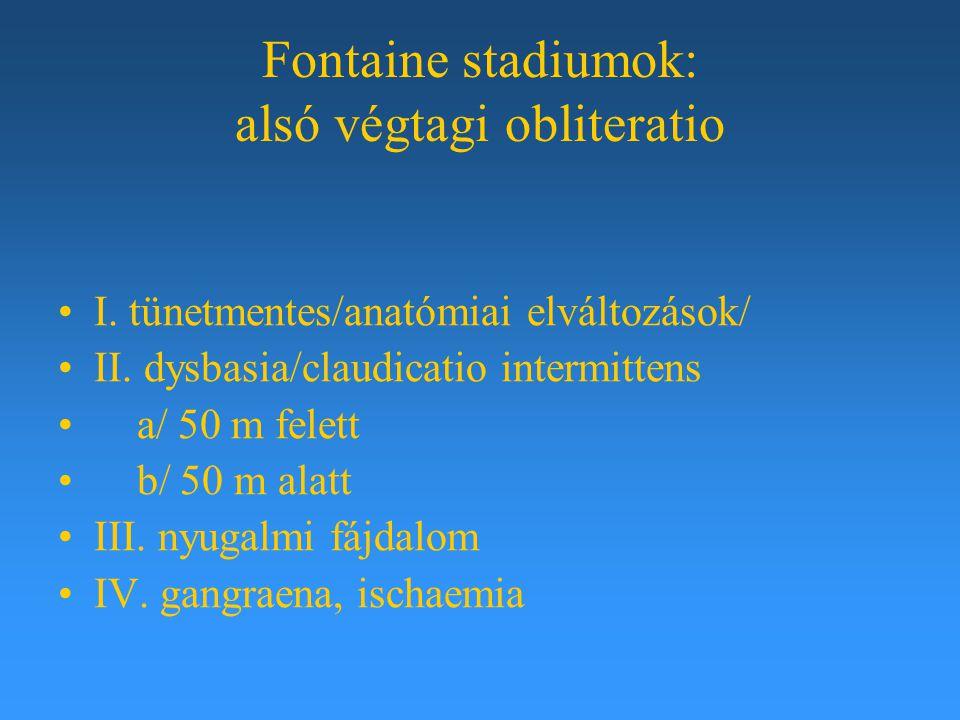 Fontaine stadiumok: alsó végtagi obliteratio I. tünetmentes/anatómiai elváltozások/ II. dysbasia/claudicatio intermittens a/ 50 m felett b/ 50 m alatt