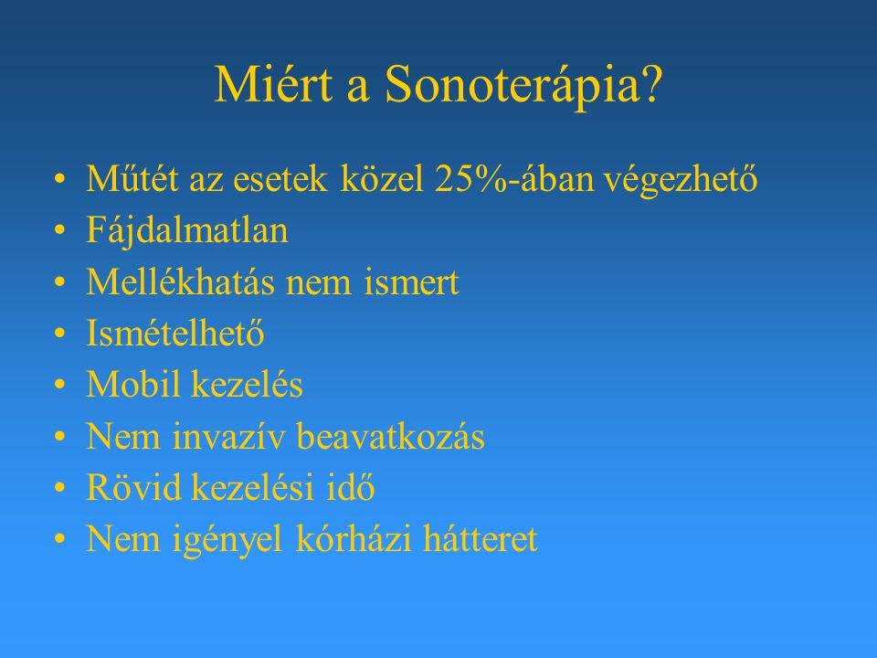 Miért a Sonoterápia? Műtét az esetek közel 25%-ában végezhető Fájdalmatlan Mellékhatás nem ismert Ismételhető Mobil kezelés Nem invazív beavatkozás Rö