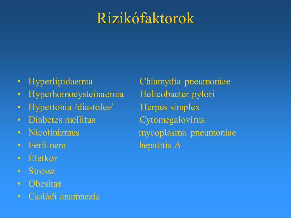 Rizikófaktorok Hyperlipidaemia Chlamydia pneumoniae Hyperhomocysteinaemia Helicobacter pylori Hypertonia /diastoles/ Herpes simplex Diabetes mellitus