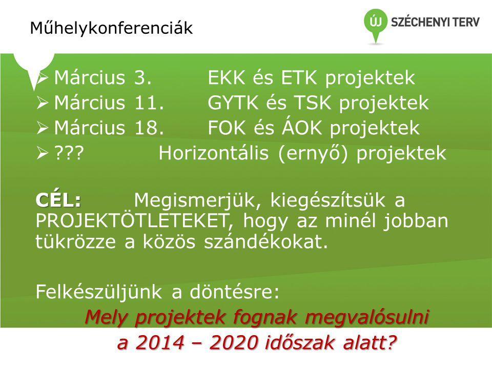 Műhelykonferenciák  Március 3.EKK és ETK projektek  Március 11.GYTK és TSK projektek  Március 18.FOK és ÁOK projektek  Horizontális (ernyő) projektek CÉL: CÉL: Megismerjük, kiegészítsük a PROJEKTÖTLETEKET, hogy az minél jobban tükrözze a közös szándékokat.