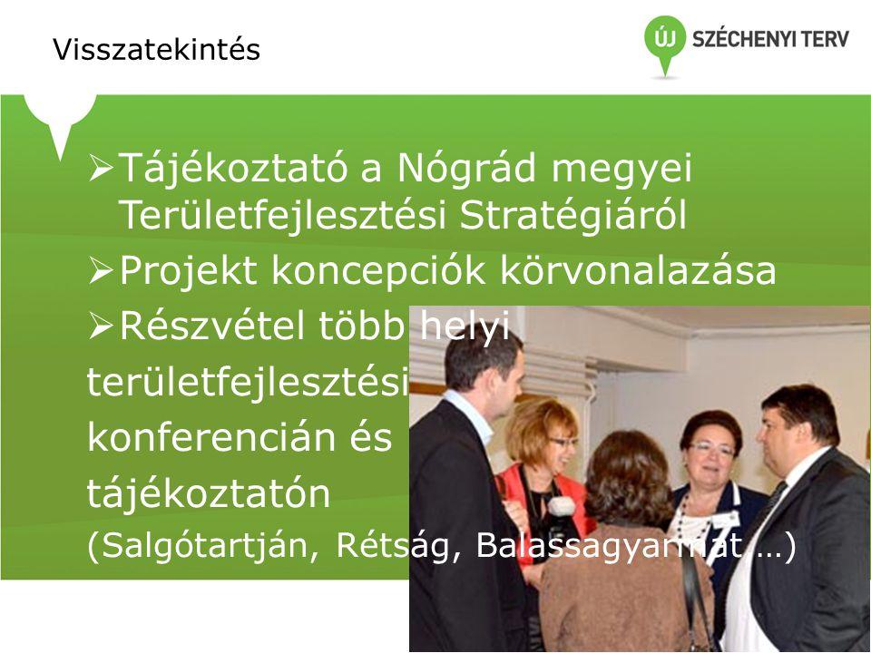 Visszatekintés  Tájékoztató a Nógrád megyei Területfejlesztési Stratégiáról  Projekt koncepciók körvonalazása  Részvétel több helyi területfejlesztési konferencián és tájékoztatón (Salgótartján, Rétság, Balassagyarmat,…)