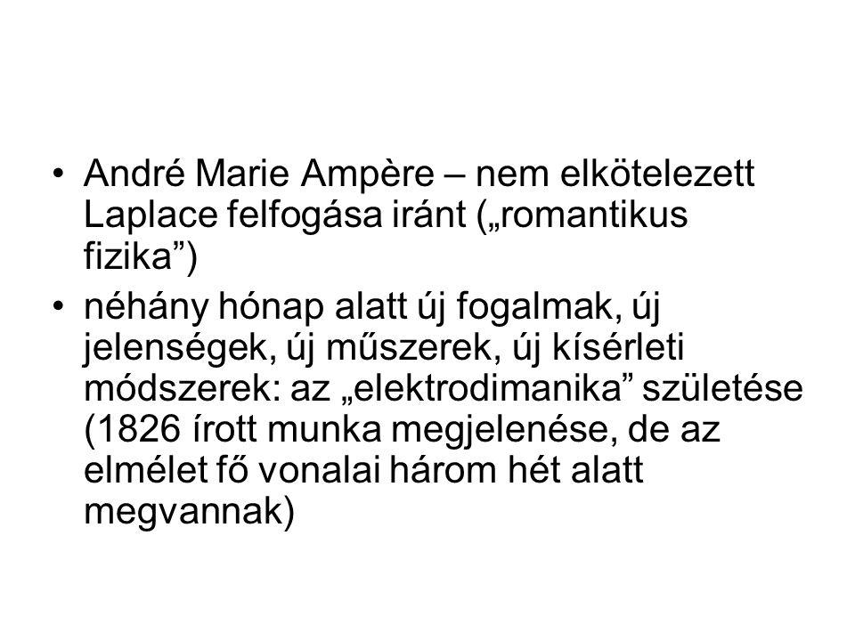 """André Marie Ampère – nem elkötelezett Laplace felfogása iránt (""""romantikus fizika"""") néhány hónap alatt új fogalmak, új jelenségek, új műszerek, új kís"""