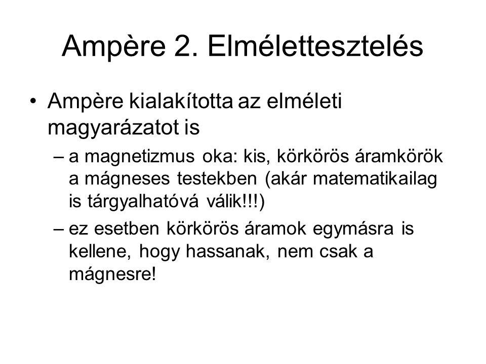 Ampère 2. Elmélettesztelés Ampère kialakította az elméleti magyarázatot is –a magnetizmus oka: kis, körkörös áramkörök a mágneses testekben (akár mate
