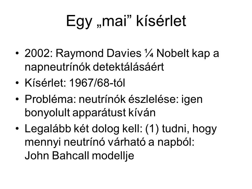 """Egy """"mai"""" kísérlet 2002: Raymond Davies ¼ Nobelt kap a napneutrínók detektálásáért Kísérlet: 1967/68-tól Probléma: neutrínók észlelése: igen bonyolult"""