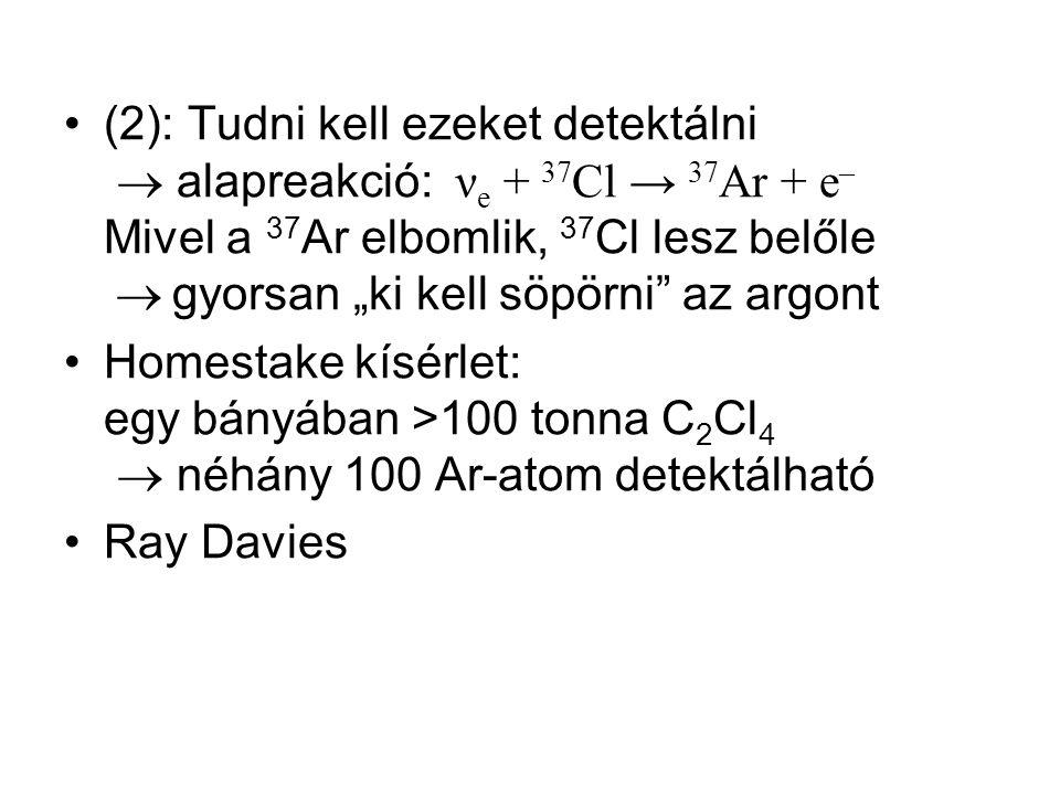 """(2): Tudni kell ezeket detektálni  alapreakció: ν e + 37 Cl → 37 Ar + e – Mivel a 37 Ar elbomlik, 37 Cl lesz belőle  gyorsan """"ki kell söpörni"""" az ar"""