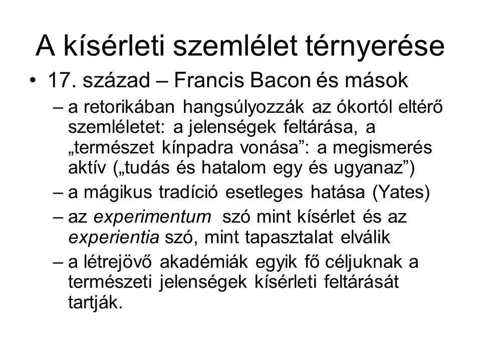 A kísérleti szemlélet térnyerése 17. század – Francis Bacon és mások –a retorikában hangsúlyozzák az ókortól eltérő szemléletet: a jelenségek feltárás