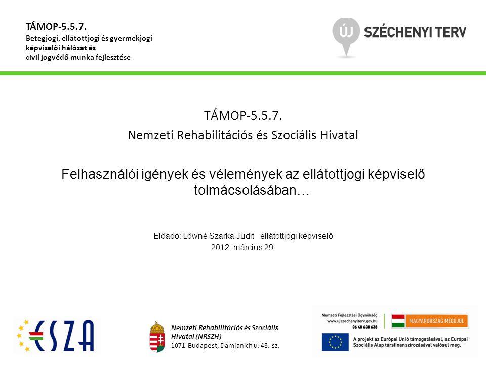 TÁMOP-5.5.7. Nemzeti Rehabilitációs és Szociális Hivatal Felhasználói igények és vélemények az ellátottjogi képviselő tolmácsolásában… Előadó: Lőwné S