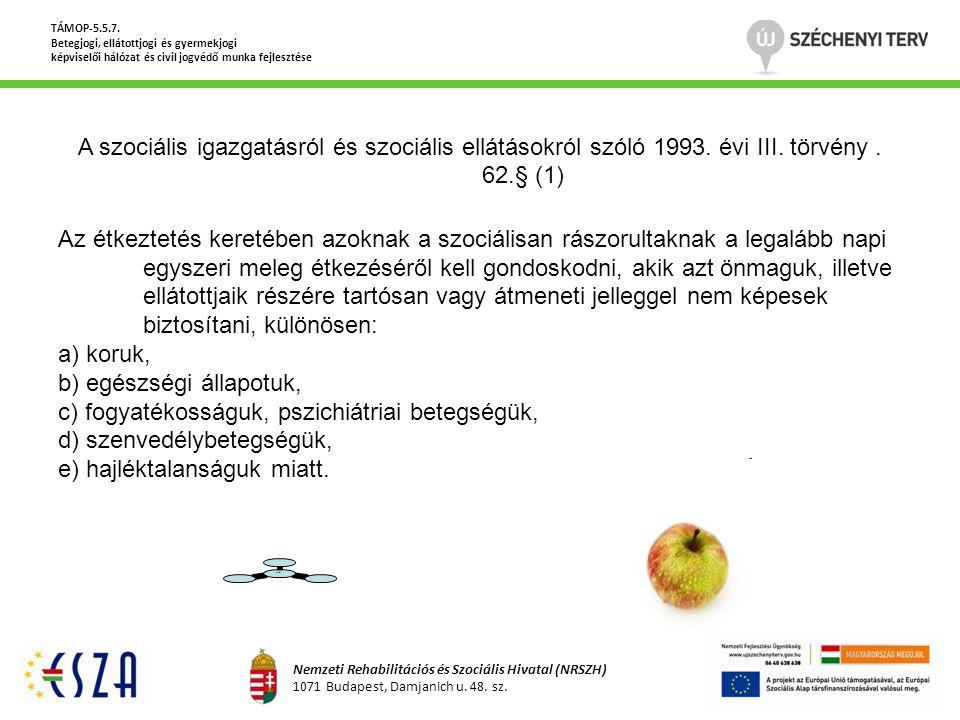 A szociális igazgatásról és szociális ellátásokról szóló 1993. évi III. törvény. 62.§ (1) Az étkeztetés keretében azoknak a szociálisan rászorultaknak