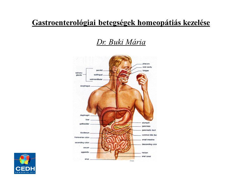 Gastroenterológiai betegségek homeopátiás kezelése Dr. Buki Mária
