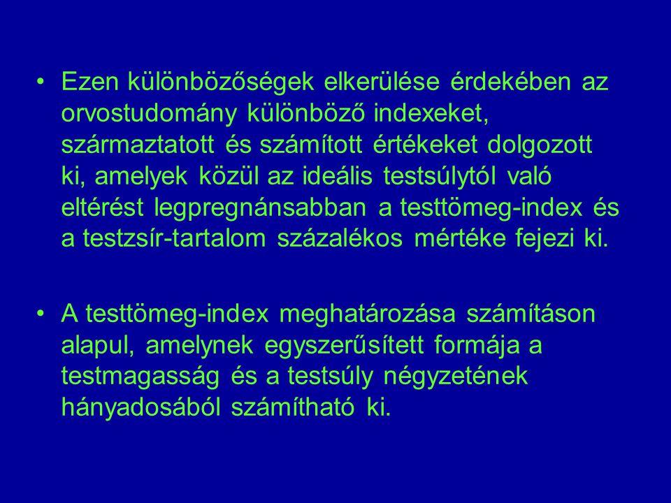Ezen különbözőségek elkerülése érdekében az orvostudomány különböző indexeket, származtatott és számított értékeket dolgozott ki, amelyek közül az ide