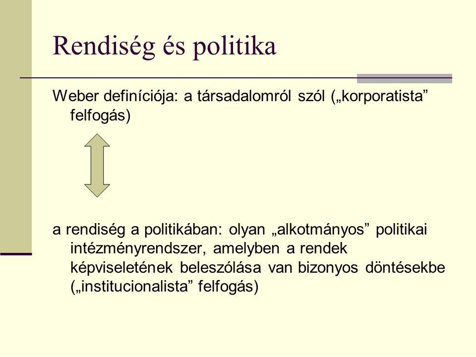 """Rendiség és politika Weber definíciója: a társadalomról szól (""""korporatista felfogás) a rendiség a politikában: olyan """"alkotmányos politikai intézményrendszer, amelyben a rendek képviseletének beleszólása van bizonyos döntésekbe (""""institucionalista felfogás)"""