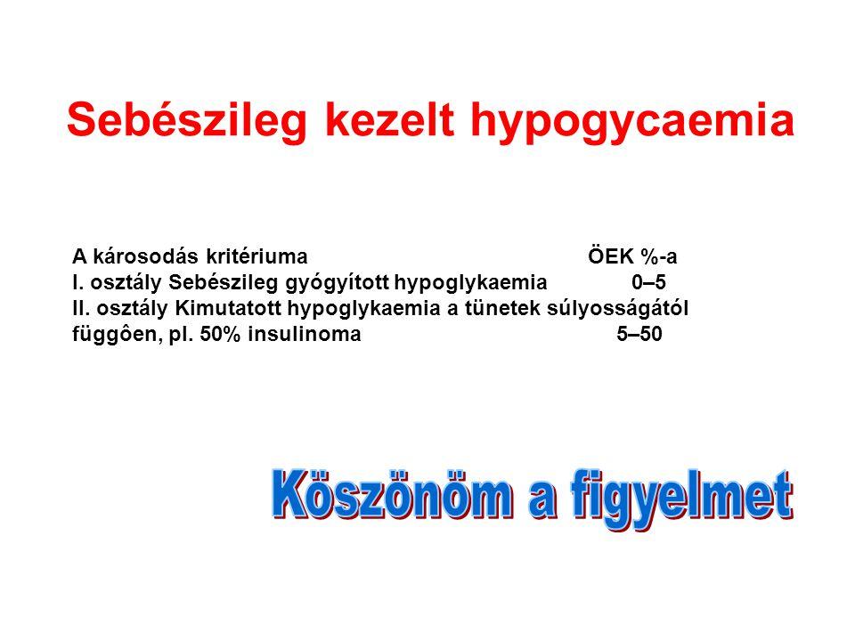 A károsodás kritériuma ÖEK %-a I.osztály Sebészileg gyógyított hypoglykaemia 0–5 II.