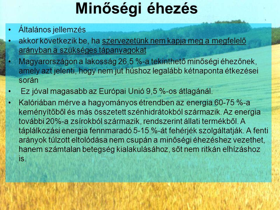 Minőségi éhezés Általános jellemzés akkor következik be, ha szervezetünk nem kapja meg a megfelelő arányban a szükséges tápanyagokat Magyarországon a lakosság 26,5 %-a tekinthető minőségi éhezőnek, amely azt jelenti, hogy nem jut húshoz legalább kétnaponta étkezései során Ez jóval magasabb az Európai Unió 9,5 %-os átlagánál.