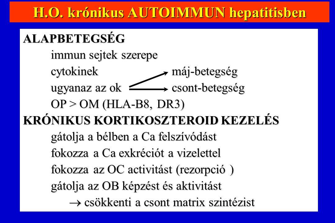 H.O. krónikus AUTOIMMUN hepatitisben ALAPBETEGSÉG immun sejtek szerepe cytokinekmáj-betegség ugyanaz az ok csont-betegség OP > OM (HLA-B8, DR3) KRÓNIK