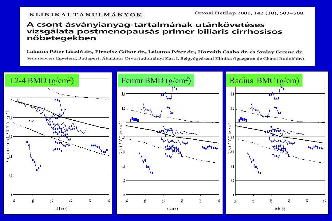 GENETIKAI FAKTOROK Vizsgált gén polimorfizmusok: Vitamin D receptor (VDR) gén Estrogen receptor alpha gene (ER-  ) IL-1, IL-1RN Collagen I  1 Osteoporosis a PBC-s betegeink 42,4%-ában (14/33)