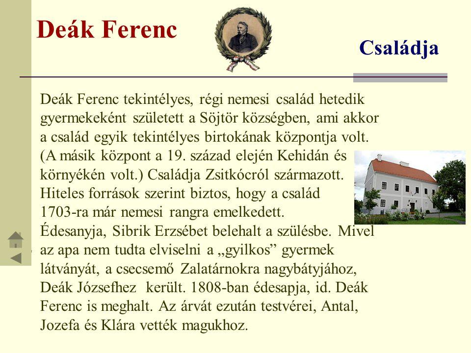 Deák Ferenc Árva gyerekként rajongó szeretettel kötődött testvéreihez.