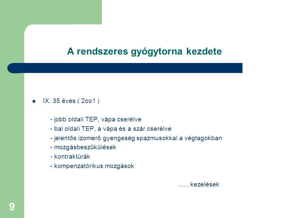 9 A rendszeres gyógytorna kezdete IX.