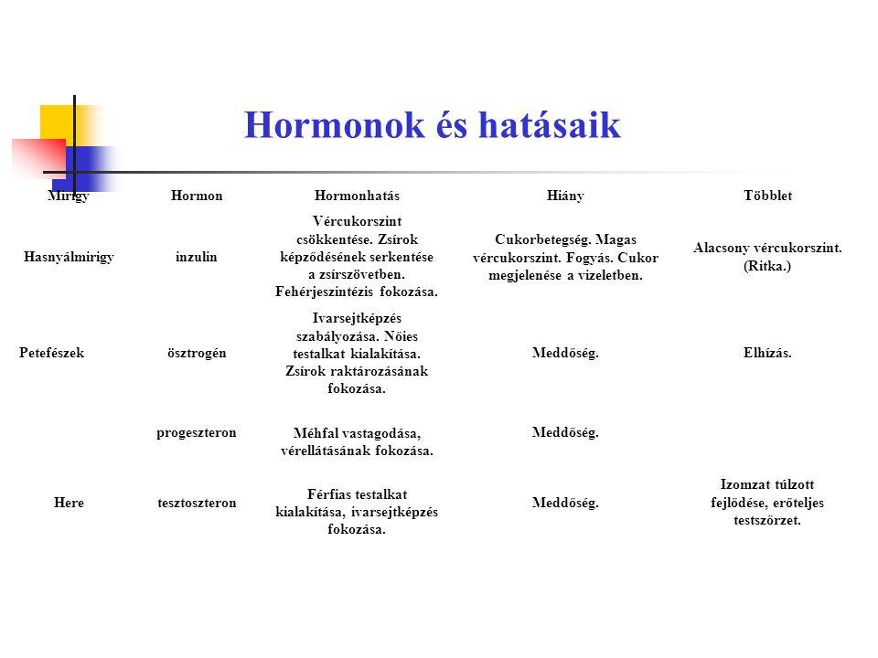 Hormonok és hatásaik MirigyHormonHormonhatásHiányTöbblet Hasnyálmirigyinzulin Vércukorszint csökkentése.