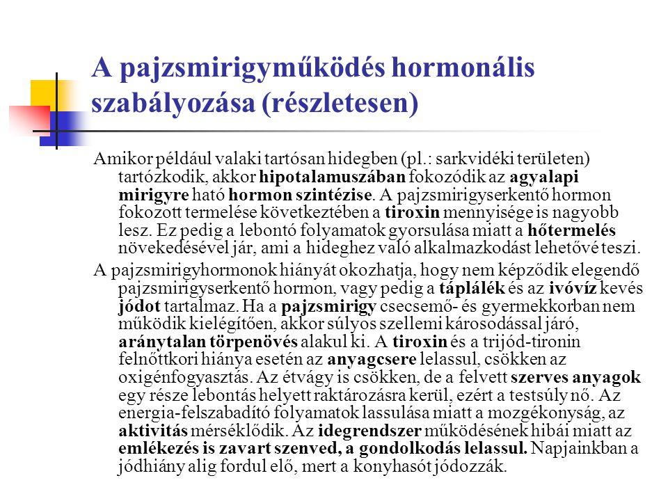 A pajzsmirigyműködés hormonális szabályozása (részletesen) Amikor például valaki tartósan hidegben (pl.: sarkvidéki területen) tartózkodik, akkor hipotalamuszában fokozódik az agyalapi mirigyre ható hormon szintézise.