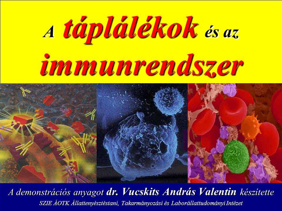 Zsírok ω-6 zsírsavak – – Sejtmembrán alkotó, stabilizáló – – Szérum-lipoproteinek alkotója – – Gyulladáscsökkentő hatás – – Hiánya esetén a limfoid szövetek atrofizálnak, csökken az antitestek mennyisége zavart szenved a sejtes immunválasz