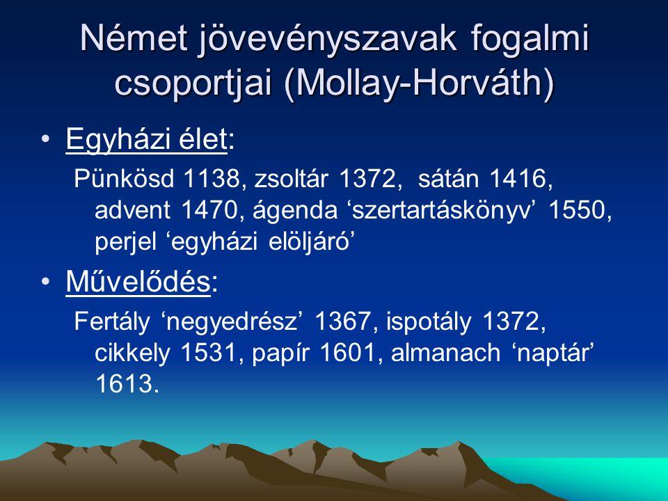 Német jövevényszavak fogalmi csoportjai (Mollay-Horváth) Egyházi élet: Pünkösd 1138, zsoltár 1372, sátán 1416, advent 1470, ágenda 'szertartáskönyv' 1