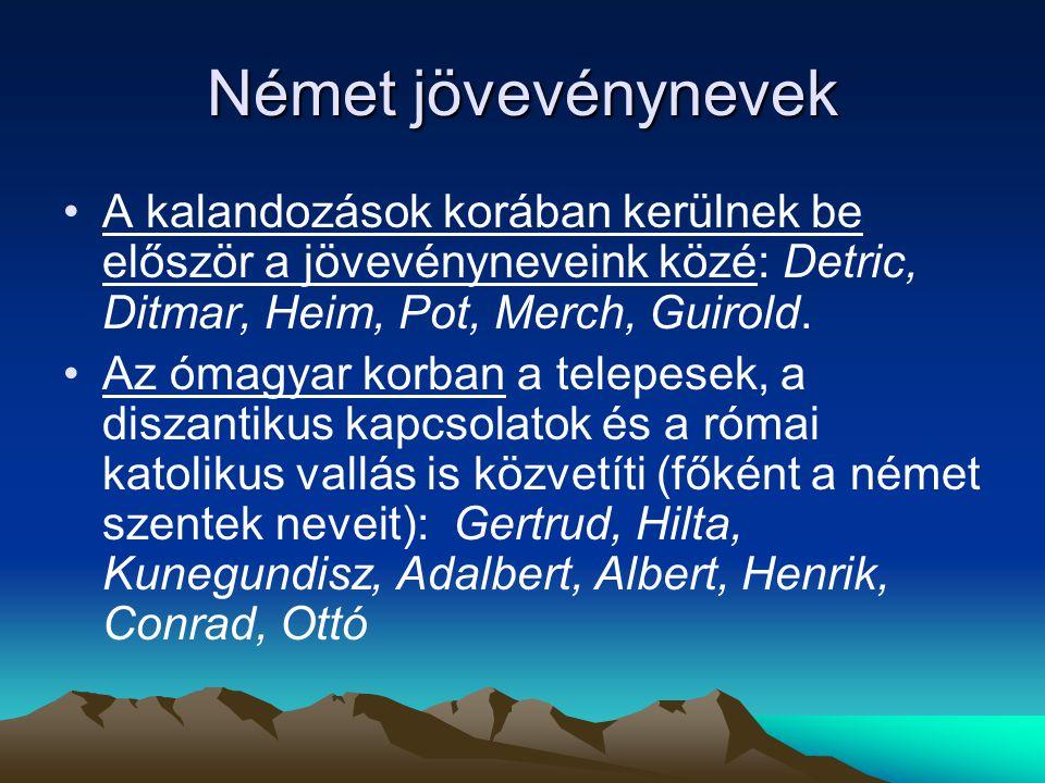 Német jövevénynevek A kalandozások korában kerülnek be először a jövevényneveink közé: Detric, Ditmar, Heim, Pot, Merch, Guirold. Az ómagyar korban a