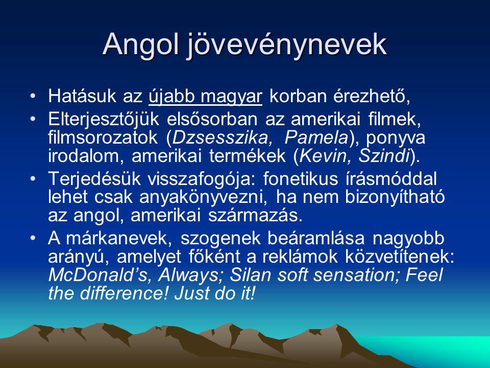 Angol jövevénynevek Hatásuk az újabb magyar korban érezhető, Elterjesztőjük elsősorban az amerikai filmek, filmsorozatok (Dzsesszika, Pamela), ponyva