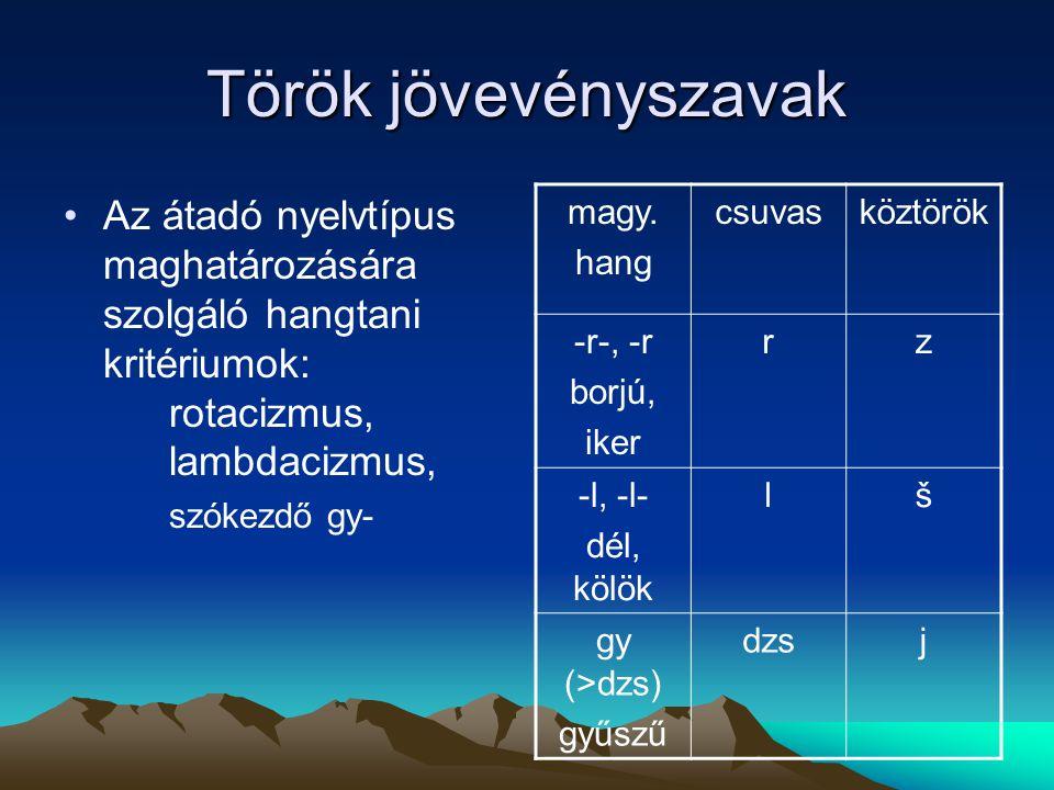 Török jövevényszavak Az átadó nyelvtípus maghatározására szolgáló hangtani kritériumok: rotacizmus, lambdacizmus, szókezdő gy- magy. hang csuvasköztör