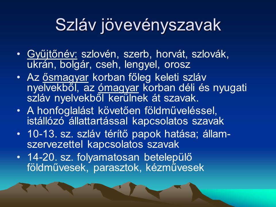 Szláv jövevényszavak Gyűjtőnév: szlovén, szerb, horvát, szlovák, ukrán, bolgár, cseh, lengyel, orosz Az ősmagyar korban főleg keleti szláv nyelvekből,
