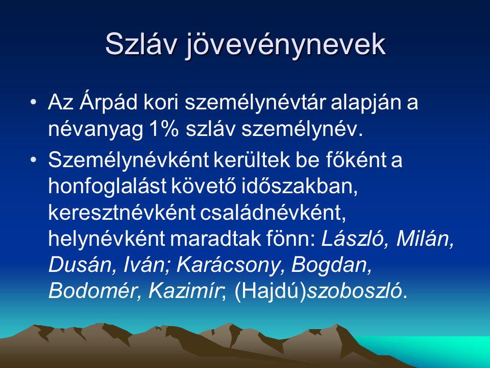 Szláv jövevénynevek Az Árpád kori személynévtár alapján a névanyag 1% szláv személynév. Személynévként kerültek be főként a honfoglalást követő idősza