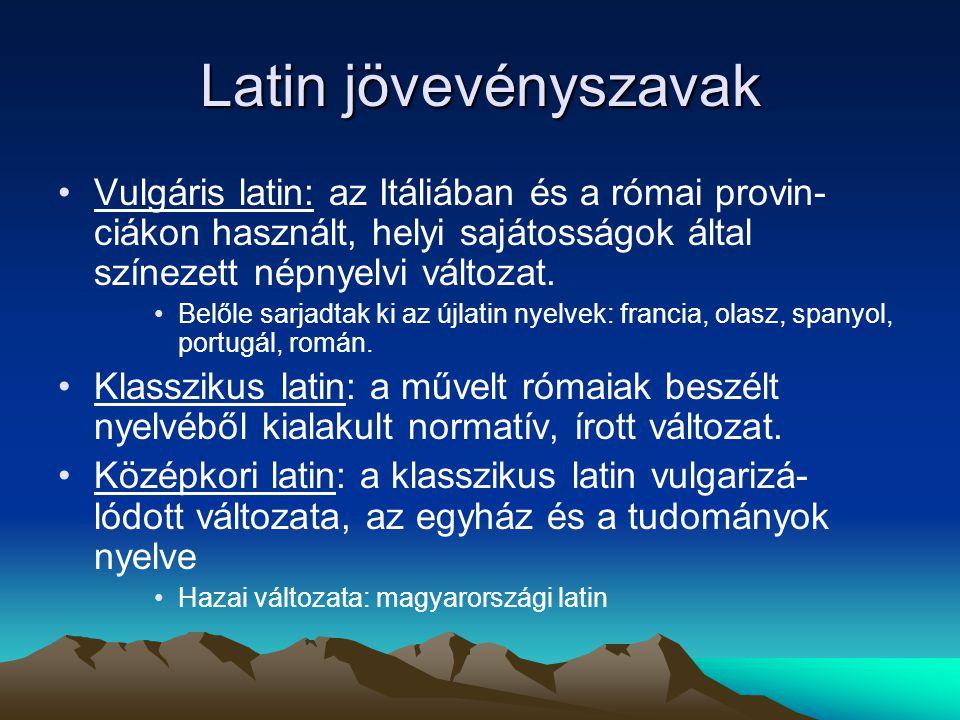 Latin jövevényszavak Vulgáris latin: az Itáliában és a római provin- ciákon használt, helyi sajátosságok által színezett népnyelvi változat. Belőle sa