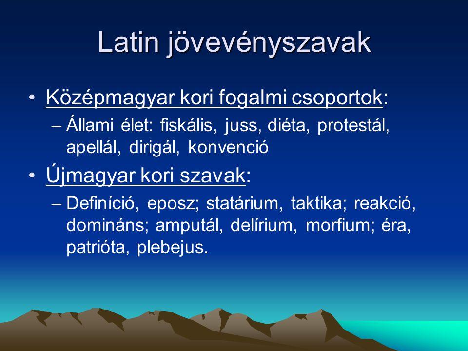 Latin jövevényszavak Középmagyar kori fogalmi csoportok: –Állami élet: fiskális, juss, diéta, protestál, apellál, dirigál, konvenció Újmagyar kori sza