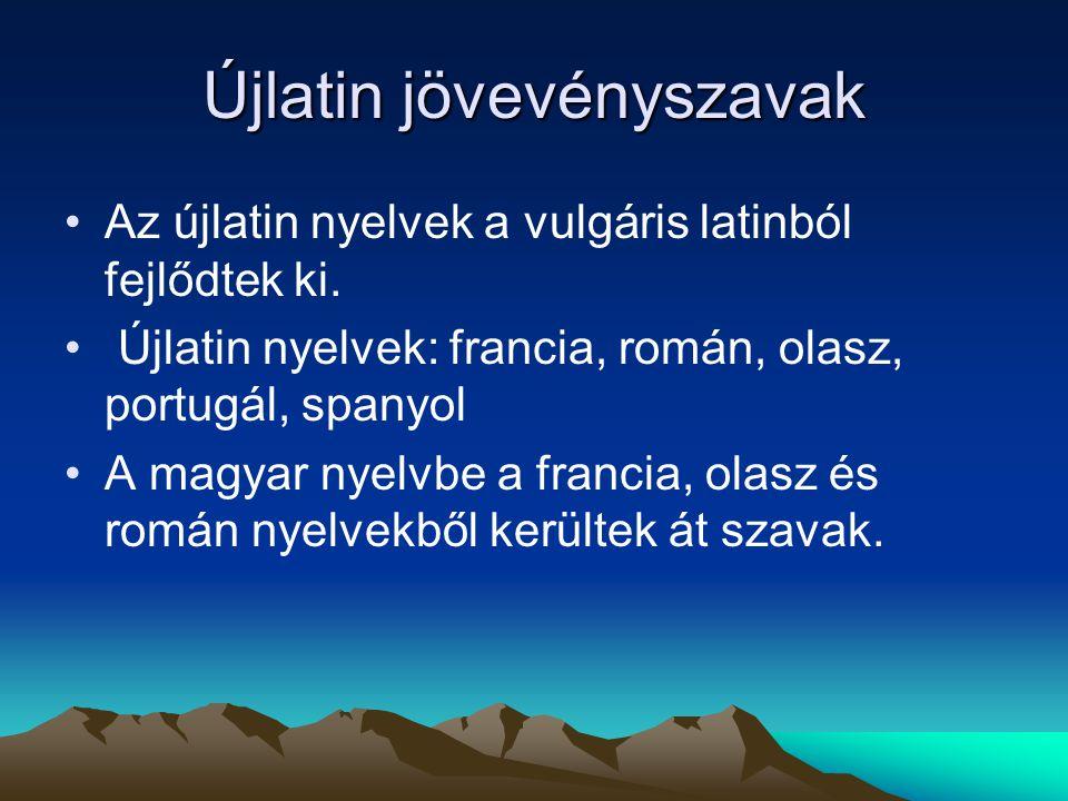 Újlatin jövevényszavak Az újlatin nyelvek a vulgáris latinból fejlődtek ki. Újlatin nyelvek: francia, román, olasz, portugál, spanyol A magyar nyelvbe